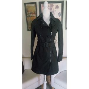 SOIA & KYO Black Belted Trench Coat Sz XS